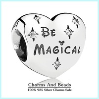 2015 New 925 Sterling Silver Mickey & Minnie Love Heart Charms Letters Of Be Magical Charms DIY Jewelry For Bracelets SH0561