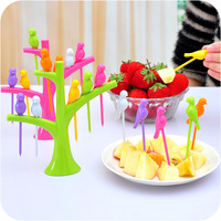 Fashion treetop fruit fork set eco-friendly trees + 6 birds fork snack fruits cake cutlery Set Cooking tools