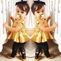 2015 New baby girls fashion suit kids clothing sets shirt dress + legging pants casual short-sleeve shirts  2 pcs/set FF867