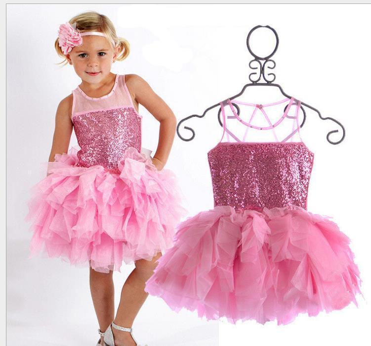 Retail 2015 Vestidos New Cute 2-7 Age Baby Girls Pink Tutu Dress Summer Fashion Brand Toddler Girls Party Dance Glitter Dresses(China (Mainland))