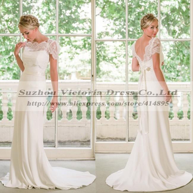 ... Backless Beach Simple Wedding Dress Vintage Robe De Mariee Picture