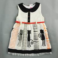 2015 New Brand Summer Girls Sleeveless Dresses With belt Brand lovely Cat Design girls clothes meninas vestir vestido princesa