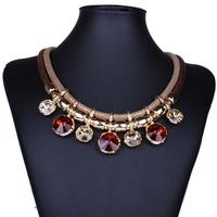 2015 New Vintage Wholesales Fashion Leather Jewelry Elegant Rinestone Pendant Choker Necklace Multi Layer Necklace