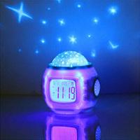 Kids Children Room Home Starry Sky Colorful Night Light Lamp Alarm Clock W/music Freeshipping