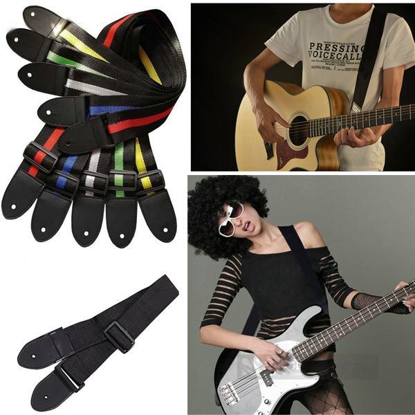 1pcs Acoustic Electric Guitar Bass Nylon Adjustable Strap Belt Nailed Uke for New Guitarist Learner Free Shipping(China (Mainland))