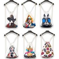 Rock Faith Harajuku Style Backpack Animal Cartoon Printed Retro Casual Drawstring Backpack Shoulders Backpack