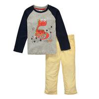 2015 New Design Girls Dinosaur clothing set Children's Animals Suits 100% Cotton T-shirt + pants Kids Cartoon Printed Clothes