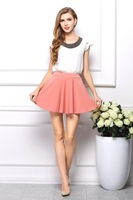 2015 Women New Linen Bohemian Short Soft Skirt Candy Color Double Layer Linen Pleated Short Skirts Lady Cute Skirt