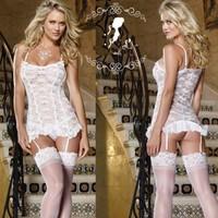 New Womens Sexy Lingerie Lace Dress Underwear Babydoll Hot Sleepwear G-string White Freeshipping