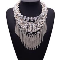 2015 Arrival Fashion Statement Luxury Gem Crystal New Color za Women Shourouk Tassel Collar Choker Necklace Women Jewelry 3787
