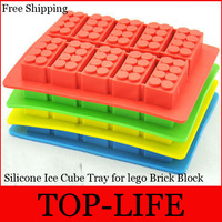Free Shipping by FedEx FDA Ice Mold Silicone Ice Cube Tray for lego Brick Block