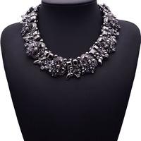 2015 New Arrival Fashion Statement Luxury Black ZA Brand Gem Vintage Shourouk Collar Choker Necklace Women Jewelry 3785