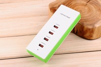 Free Shipping 4 Outlets USB Chargers 5A Fast Recharging Smart Currency Distribution Refractory Enclosure Safe Protection 4-P001