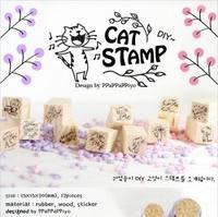 (12 pieces/lot) DIY Scrapbooking Vintage Wood Stamps Decoration Creative Cat Stamp Kawaii Stationery