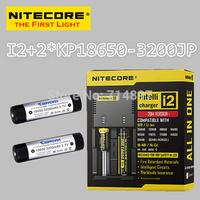 Free shipping original NITECORE I2 intelligent  battery charger + 2 pcs keeppower KP 18650 3200mah jp rechargeable batteries