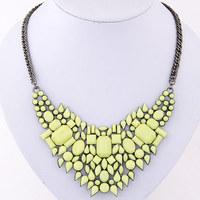 Fashion Irregular Resin necklace yellow neon color Statement Fake Collar Bib Collar For Women