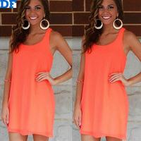 Loose Chiffon Casual Dress Women Bow Sleeveless Summer Dress Vestidos 2015 Factory Sale Plus Size Women Beach Dresses Wholesale!