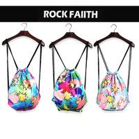Rock Faith latest Harajuku style shoulder bag shoulder bag-emitting laser printing drawstring bag tote bag