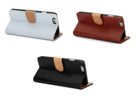 Genuine Leather Wallet Stand Case for iPhone6 cover 4.7/5.5 Flip Phone Case with Card Holder 3 Colors anti-knock 50pcs