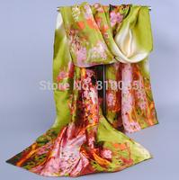 Chinese style silk satin printed scarf Women long silk scarf Lady Beach Turban Shawl towel Wrap Scarf 5 colors 165*50cm