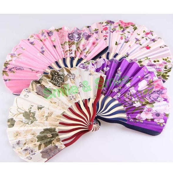 5pcs/lot Women's Bamboo Folding Fan Cloth Style Folding Fan Chinese Silk Dance Fan (Color send by random)(China (Mainland))