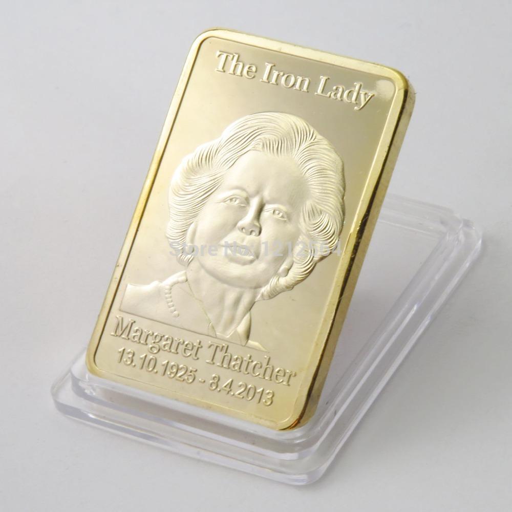 50PCS/lot 1OZ Margaret Thatcher Gold Bar 1 oz Iron Lady Prime Minister of England UK FLAG Proof Coins(China (Mainland))