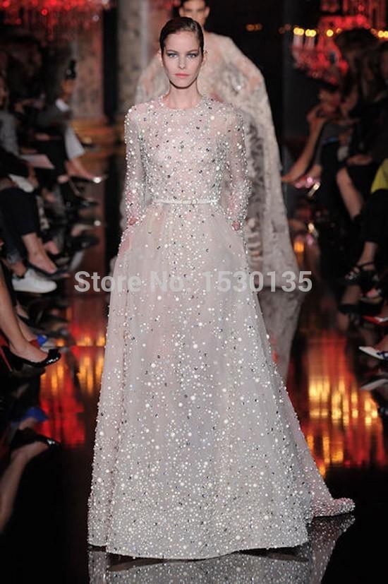 2015 Hot Sale O Neck Long Sleeve Prom Evening Dresses Elie Saab Gowns Beaded Rhinestones Pocket Long Celebrity Dresses hyd-58(China (Mainland))