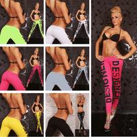 2015 Fashion Womens Sexy DESIGNER Print Leggings Candy Colored Silk Slim Workout Gym Sports Leggings Fitness Yoga Pants 19046
