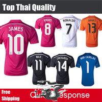Best Thai 2015 Real Madrid soccer jerseys JAMES KROOS RONALDO BALE Camisetas 14/15 Real Madird 2015 Black Dragon Jersey shirts
