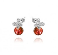 Crystal accessories fashion butterfly circle austrian crystal stud earring - butterfly lover