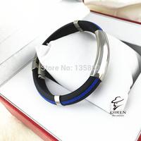 China Wholesale Double Blue Line Pattern Stainless Steel Leather Bracelet Bangle Fashion Jewels
