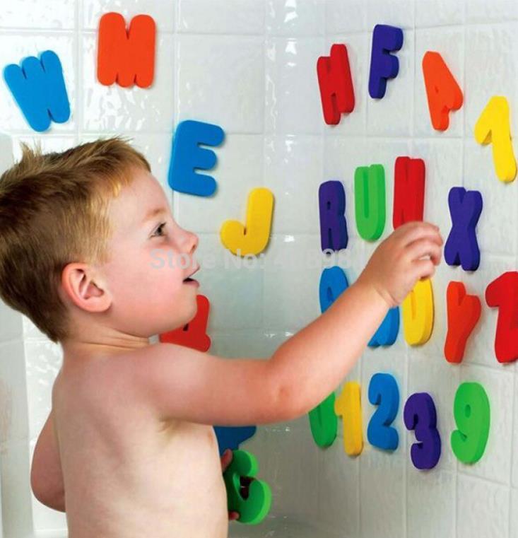 Купить Игрушки и Хобби  children Bath toy floating foam water toy 36pcs/set Bath Letter nd Numbers Digital Stickers  None