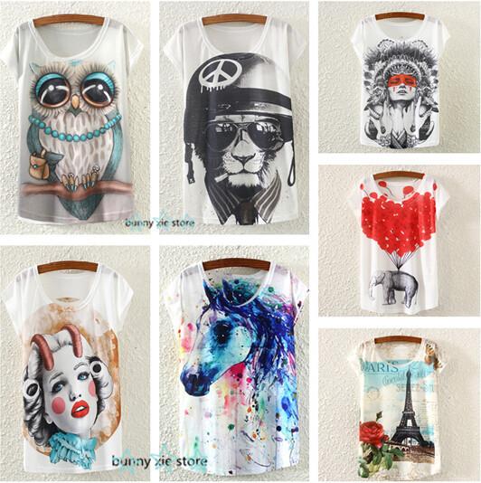 2015 мода старинные новый весна лето Harajuku женщины футболка одежда топы футболки румяна женщины / сова / башня печать футболка