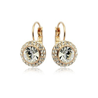 Top Quality Moon River Crystal 18K Yellow Gold Plated Clip Earrings Jewelry Austrian Crystal Wholesale