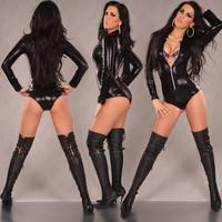 Black Leather Lingerie Sexy Body Suits for Women PVC Erotic Leotard Costumes Latex Bodysuit Catsuit 2015 women leather dresses