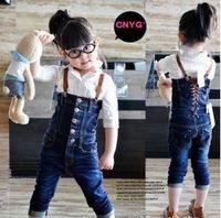 children's jeans fashion girl's denim suspender pants for autumn kid's overalls pants Freeshipping YCZ020