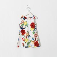 New 2015 girls flower Bird print vest dress baby girls party dress 5pcs/lot
