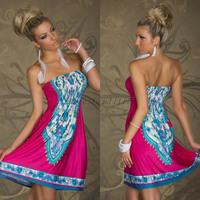 Fashion Casual Bohemia Strapless Beach dress women models print women summer dress
