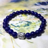 Brand New Charm bracelet Deep Blue Chalcedony Beads With Buddha Bracelets Bangle Bracelet Wholesale