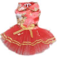 Red Dog Wedding Dress Luxury Print Summer Pet Products Golden Bowknot Slip Tapestry Satin Pet Cat Bride Clothes Dog Tutu Dress