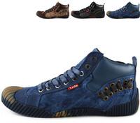 2015 New Men shoes Fashion high Tops plimsolls joint cowboy Canvas Breathable single shoes