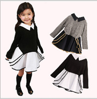 Free shipping - critical fall 2014 children's clothing baby girls pure cotton dress Stitching long-sleeved dress