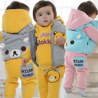Winter Baby Clothing Set Carters Style Thick Hoodies+Vest+Pants 3PCS Cartoon Bear New Born Boys Girls Fleece Clothes Set CS466