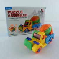 10 set/lot DIY developing creativity construction truck 3D puzzle assembled toys car Building Blocks mixer truck Free Shipping