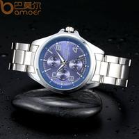 Nary Brand Stainless Steel Quartz Watch Analog Black White Blue Face Dress Women and Men Wristwatch Clock WA1105