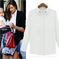 2015 Women Long Sleeve Shirts Elegant Chiffon Beads Pure White Long Sleeve Blouse Tops S-XL