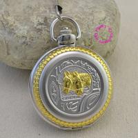 fashion quartz gold two horse pocket watch antique man classic vintage fob watches men retro golden color black arabic hour gift