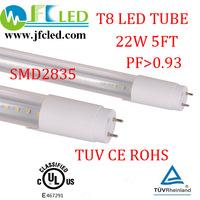 Free shipping 60pcs led fluorescent tube 1500mm 22w tuv led t8 tube light ul g13 smd 2835 1900-2100lm bright 5ft led tube lights