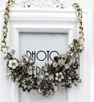 New European Vintage Luxurious Collar Chain Bronze Lace Flower Chain Choker Necklace for Women Sale 015