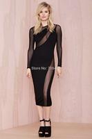 9357 new fashion temperament elegant long dress veil nightclub